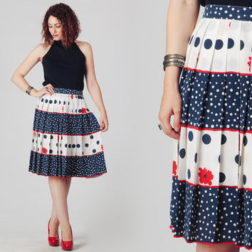 70s Navy Red and White Midi Skirt / Polka Dot Stripes and Flowers Skirt / Nautical Hues Pleated Skirt