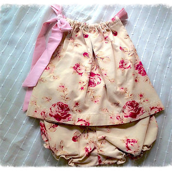 6-9 months size Baby Girl Tunic and Shorts Refashioned Vintage Floral Dress and Diaper Cover Set Fashion Baby Outfit