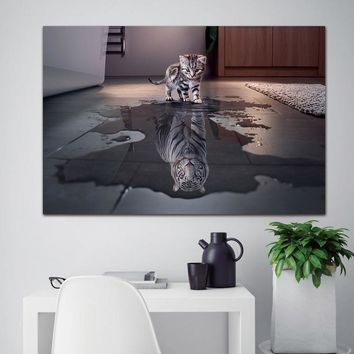 canvas painting Wall Art Painting Decor 1 Panel Decorations Modern Canvas Prints Artwork Cat and Tiger Pictures Paintings Canvas