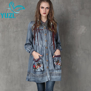 Trench Coat 2017 Yuzi.may Casual New Denim Women Coats Stand Collar Floral Embroidery Lantern Sleeve Casacos A6552 Casaco Femme