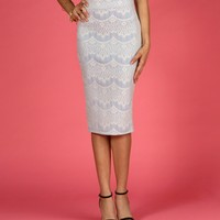 Sale- Powder Blue Scallop Lace Midi Skirt