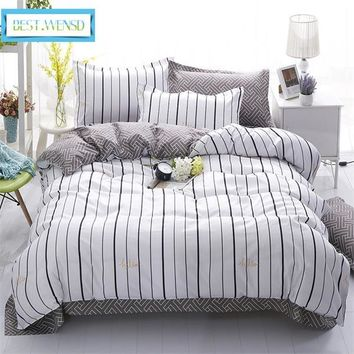 BEST.WENSD Free shipping princess Bedding Set diagonal pringing duvet cover bed sheet Home textiles king queen single bed linen