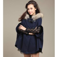 Womens Winter Autumn Warm Fur Coat Cape Outwear  +Gift Necklace