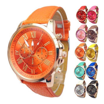 New Stylish Women Luxury Geneva Numerals Dress Watch Ladies Stylish Geneva Numerals Faux Leather Analog Quartz Wristwatches 1 Pcs [8833608076]