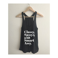 Classy Sassy & a bit Smart Assy Tri Blend Athletic Racerback Tank Top