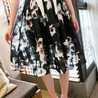 Black Retro Floral Plaid Knee Lenght Skirt