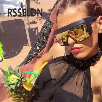 RSSELDN  Ladies Sunglasses Fashion Vintage Goggles Sunglasses for Men Oversized Big Frame Rivet Sun Glasses UV400 Protection