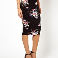 ASOS Pencil Skirt In Oriental Floral Print at asos.com