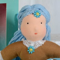 Waldorf Doll, Blue hair,  Fairy doll, Anthroposophy doll, Handmade doll, Marino wool doll, Poupee, Lutka, Bambola, Muneca, One of a kind