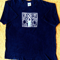 90's Vintage Rare KEITH Haring SOS Pop Art Andy Warhol Fashion Punk Tee T shirt Size L
