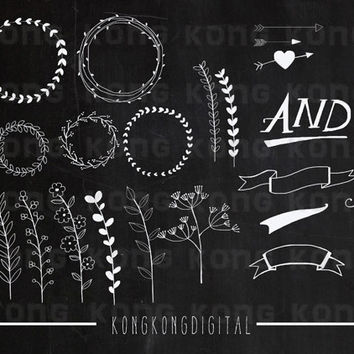 Instant Download Laurel, Arrow, Banner clipart for scrapbooking