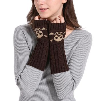 2017 Women fashion Winter Arm Warmer Glove Skeleton Gloves Men Unisex Halloween Knitted Long Fingerless Gloves