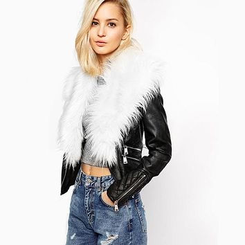 Shearling Zipper Moto Jacket