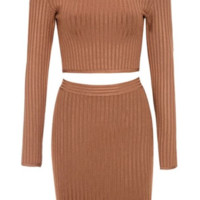 'Aida' Bodycon Knit Bandage Dress Set - Tan