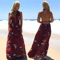 Milan Floral Maxi Dress In Burgundy