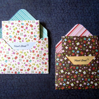 "Mini pattern envelopes with note cards/ pattern envelopes/ 3"" x 4"" note card / gift card envelopes/ garden flowers limit edition / set of 4"