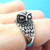 Detailed Owl Bird Animal Wrap Around Ring in Silver | US Sizes 6 to 9