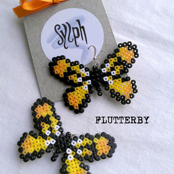 Earrings made of Hama Mini Beads - Flutterby (yellow)