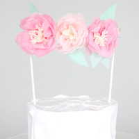Pink and Blush Flower Cake Topper  - Personalized Cake Topper / Custom Color Tissue Paper Flower Garland / Easter Party Decor / Cake Decor