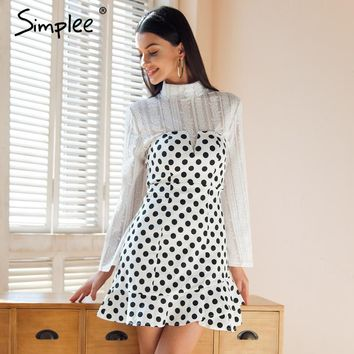 Simplee Strapless polka dot mini dress women Sexy backless ruffle bodycon dress party 2018 Summer style short dress vestidos