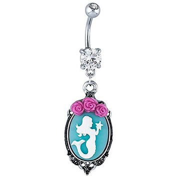 Mermaid Cameo 316L Stainless Steel Dangle Belly Ring