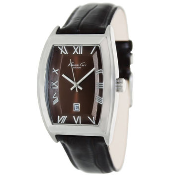 Kenneth Cole KC1916 Men's New York Brown Dial Black Leather Strap Date Watch