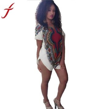 Women Dress Bodycon Mini Dresses Traditional Tribal African Dashiki Party Hippie Multicolor Short sleeve Dress 844 #LSIN