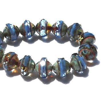 Six faceted saturn or saucer Czech glass beads, transparent & opaque sapphire blue with picasso finish, 8mm x 10mm C0901