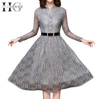Autumn Plus Size Lace Full Sleeve Sashes Knee-Length Dresses Women Stand Collar Dress
