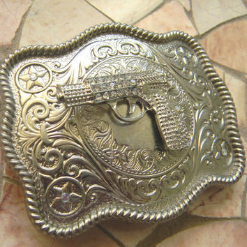 Gun Belt Buckle, Silver Gun Belt Buckle, Cross Pistol Rhinestone Gun Western Engraved Womens Mens Buckle, Rhinestone Gun Custom Belt Buckle