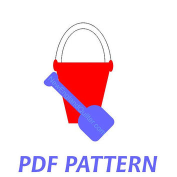 Beach Sand Bucket and Shovel Applique PDF Pattern - Quilt Block - Sewing - Crafts - Pail Summer Fun - Instant Download