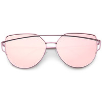 Women's Oversize Cross Brow Flat Mirrored Lens Sunglasses A546