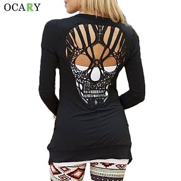 Back Skull Hollow Out Women Sweaters Long Sleeve Cardigans Thin Cardigans