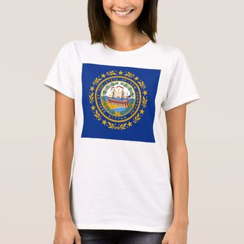 Women T Shirt with Flag of New Hampshire State