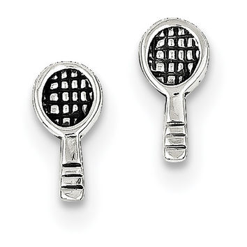 Sterling Silver Antique Tennis Racquet Post Earrings QE8681