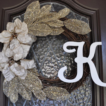 Christmas Wreath, Gold Christmas Wreath, Holiday Wreath, Personalized