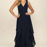 Simply Sweet Navy Blue Maxi Dress