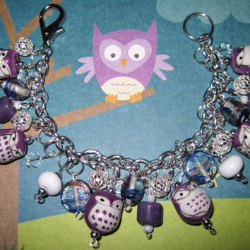 Owl Charm Bracelet Porcelain Beads Spooky Cute Birds Halloween Jewelry OOAK Eclectic Statement Piece