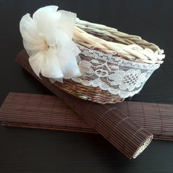SALE!!! Rustic Basket Easter basket Wedding Shabby Chic wedding Flower girl basket Outdoor wedding Paper Home decor Organizer Brown basket