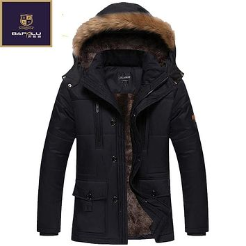 The new winter jacket Men Plus thick velvet warm coat jacket men's casual hooded coat size L-4XL5XL