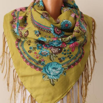 Fringe scarf-Mustard Russian scarf-floral shawl-floral scarf-Women Accessories-floral shawl-Christmas gift -Gift İdeas-floral scarvs