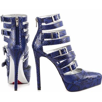 Luichiny Cobalt Blue Snake Pointy Toe Strappy High Heel Pump Shoe