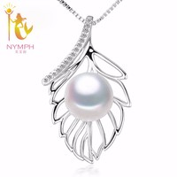 [NYMPH] Pearl Jewerly Natural Pearl Necklace Pendant Real Fresh Water Pearl Choker Necklace 925 Silver 2017 New Leaf L02