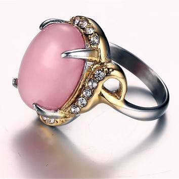 Pink 8 Carved Agate Ring Antique Silver Plate Natural Emerald Jewelry Vintage Retro Chinese Jade Rings Zircon Big Stone Ring For Women