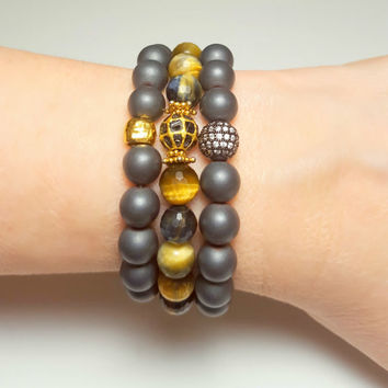Grey Stone Tiger Eye Bracelet Set, Black Diamond Gold Beaded Stretchy Bracelet, Boho Bracelet, Stacking Bracelet, 3 Beaded Bracelets