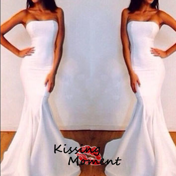 Sexy mermaid white prom dress,Slim stylish prom dresses, Formal evening dress zipper back, New arrival cheap prom dress, wedding dress,9070