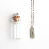 HOPE Charm, Silver Necklace with  in a tiny glass bottle packaging