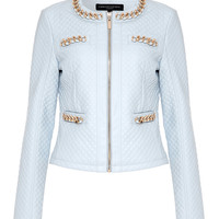 EVA - Pale Blue Quilted Collarless Jacket