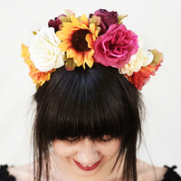 Di de los Muertos Flower Crown - Frida Kahlo, Floral Headdress, Flower Headband, Day of the Dead, Mexican, Frida Hair, Colorful, Fiesta