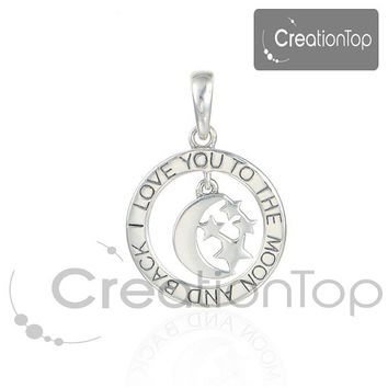925 Silver Charm pendant for any Pandora chain To the moon and back